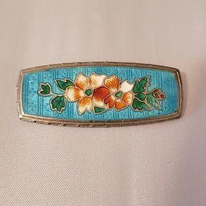Vintage Blue Floral Enamel Pin